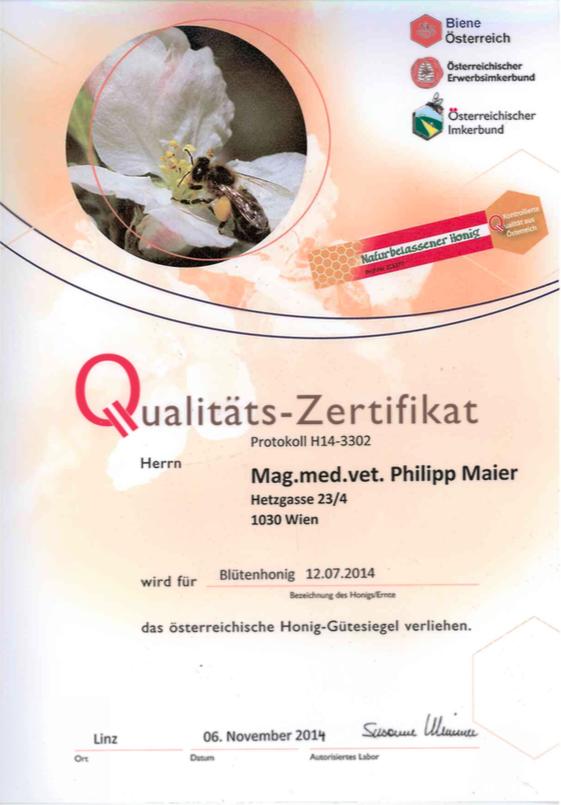 Qualitätszertifikat 2014